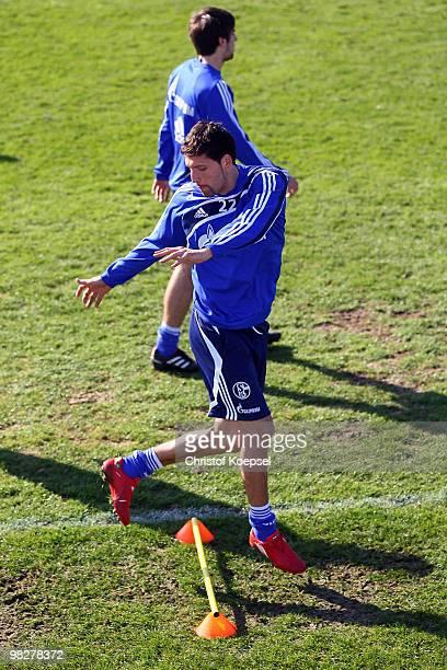 Kevin Kuranyi of Schalke exercises during the training session of FC Schalke at the Park stadium on April 6 2010 in Gelsenkirchen Germany