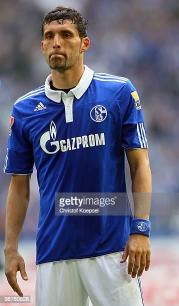 Kevin Kuranyi of Schalke looks dejected after losing 02 the Bundesliga match between FC Schalke 04 and SV Werder Bremen at Veltins Arena on May 1...