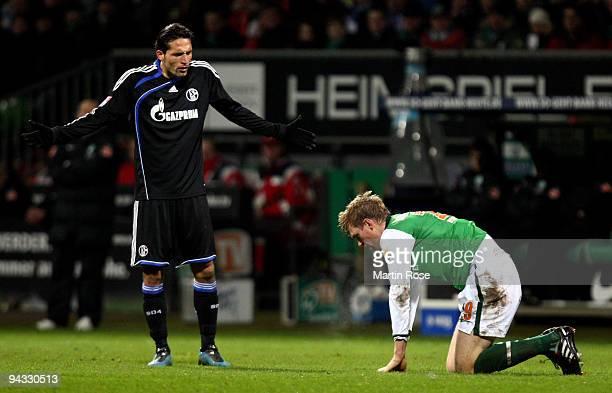 Kevin Kuranyi of Schalke reacts after he fouls Per Mertesacker of Bremen during the Bundesliga match between Werder Bremen and FC Schalke 04 at the...