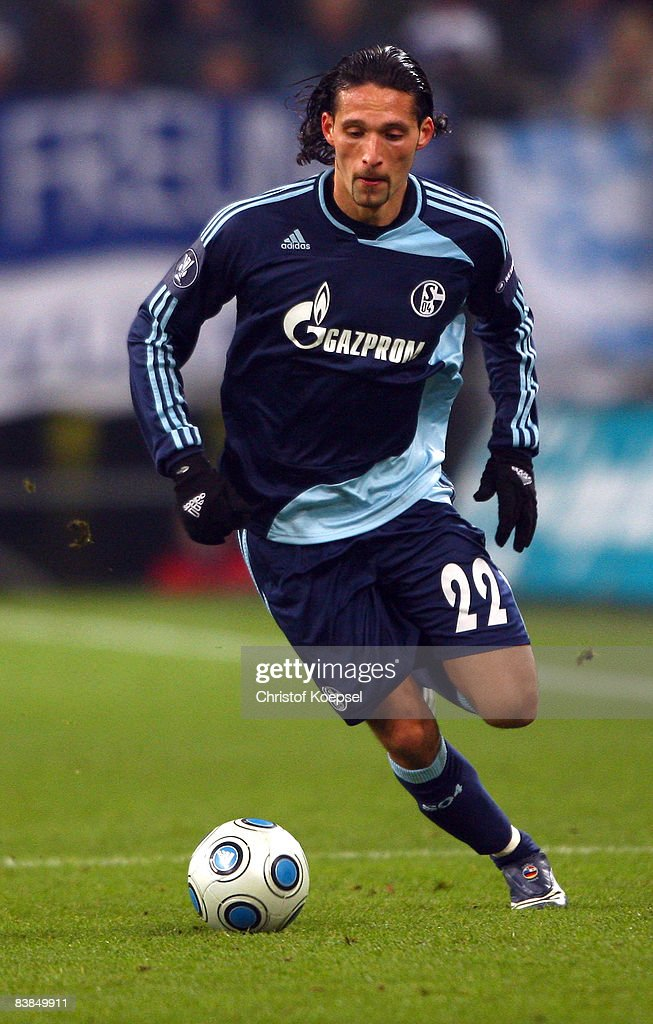 Kevin Kuranyi of Schalke runs with the ball during the UEFA Cup Group A match between FC Schalke 04 and Manchester City at the Veltins Arena on November 27, 2008 in Gelsenkirchen, Germany.