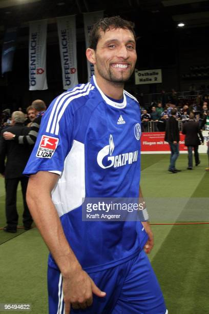 Kevin Kuranyi of Schalke smiles after the Indoor Football Cup match between Schalke 04 and Bremer Landesauswahl at the Weser Ems Halle on December 30...