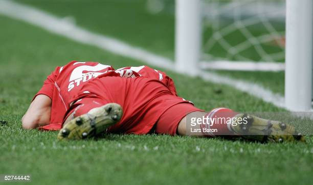 Kevin Kuranyi of Stuttgart lies on the ground during the Bundesliga match between Borussia Monchengladbach and VfB Stuttgart at the Borussia Park on...