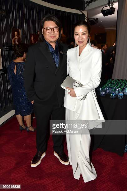 Kevin Kwan and Michelle Yeoh attend the 2018 TIME 100 Gala at Jazz at Lincoln Center on April 24 2018 in New York City