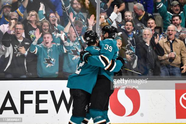 Kevin Labanc and Logan Couture of the San Jose Sharks celebrate scoring a goal against the Vegas Golden Knights in Game Seven of the Western...