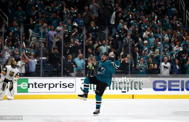 Kevin Labanc of the San Jose Sharks celebrates after he scored the goahead goal in the third period against the Vegas Golden Knights in Game Seven of...