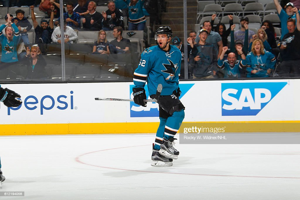 Kevin Labanc #62 of the San Jose Sharks celebrates after scoring the winning goal against the Vancouver Canucks at SAP Center on September 27, 2016 in San Jose, California.