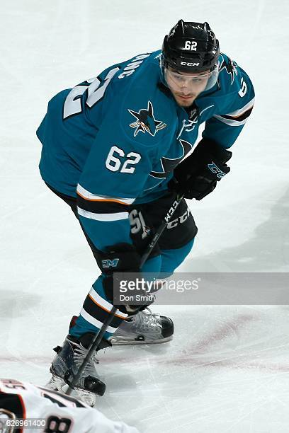 Kevin Labanc of the San Jose Sharks looks during a NHL game against the Anaheim Ducks at SAP Center at San Jose on November 26, 2016 in San Jose,...