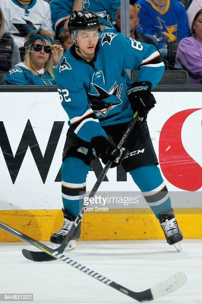 Kevin Labanc of the San Jose Sharks looks on during a NHL game against the Minnesota Wild at SAP Center on April 7 2018 in San Jose California Kevin...