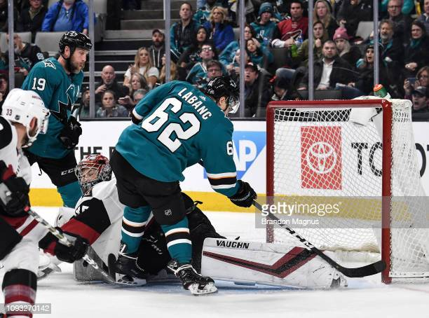 Kevin Labanc of the San Jose Sharks scores a goal against Darcy Kuemper of the Arizona Coyotes at SAP Center on February 2 2018 in San Jose California