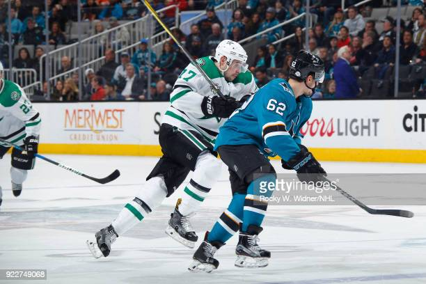 Kevin Labanc of the San Jose Sharks skates against Devin Shore of the Dallas Stars at SAP Center on February 18 2018 in San Jose California