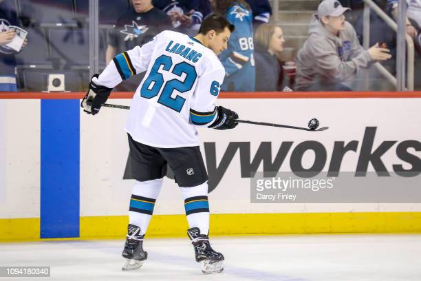 Kevin Labanc of the San Jose Sharks takes part in the pregame warm up prior to NHL action against the Winnipeg Jets at the Bell MTS Place on February...