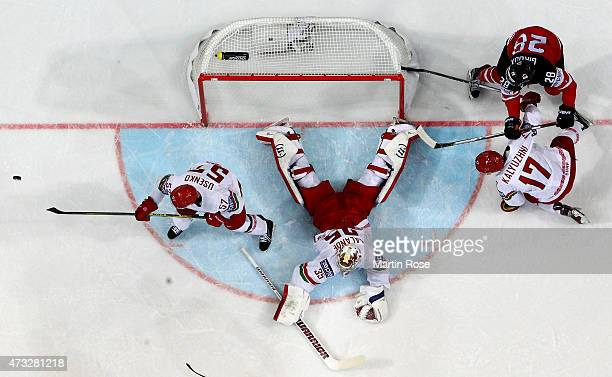 Kevin Lalande goaltender of Belarus tends net against Canada during the IIHF World Championship quarter final match between Canada and Belarus at O2...