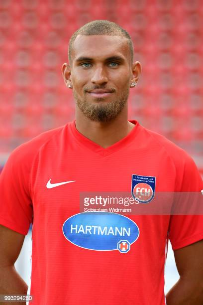 Kevin Lankford of 1 FC Heidenheim poses during the team presentation at VoithArena on July 6 2018 in Heidenheim Germany