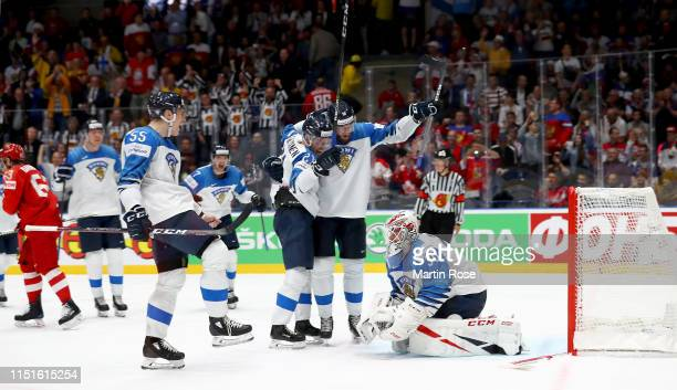 Kevin Lankinen goaltender of Finland celebrate with his team mates victory over Russia the 2019 IIHF Ice Hockey World Championship Slovakia semi...