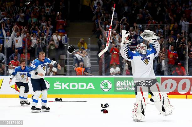Kevin Lankinen, goaltender of Finland celebrate with his team mates after winning the gold medal game over Canada during the 2019 IIHF Ice Hockey...