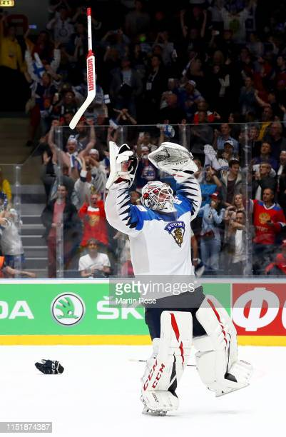 Kevin Lankinen, goaltender of Finland celebrates after winning the gold medal game over Canada during the 2019 IIHF Ice Hockey World Championship...