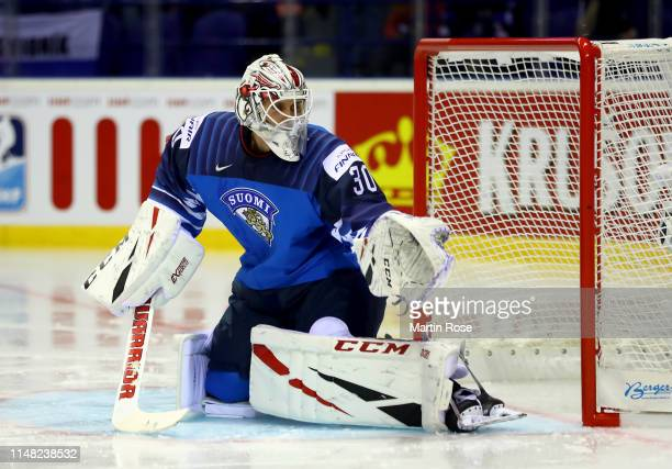 Kevin Lankinen, goaltender of Finland tends net against of Canada during the 2019 IIHF Ice Hockey World Championship Slovakia group A game between...
