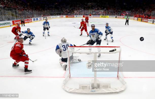 Kevin Lankinen, goaltender of Finland tends net against Russia during the 2019 IIHF Ice Hockey World Championship Slovakia semi final game between...