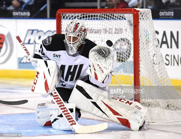 Kevin Lankinen of the Central Division makes a save during the 2020 AHL All-Star Classic at Toyota Arena on January 27, 2020 in Ontario, California.