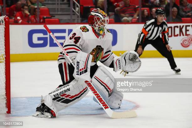 Kevin Lankinen of the Chicago Blackhawks skates while playing the Detroit Red Wings during a pre season game at Little Caesars Arena on September 20,...