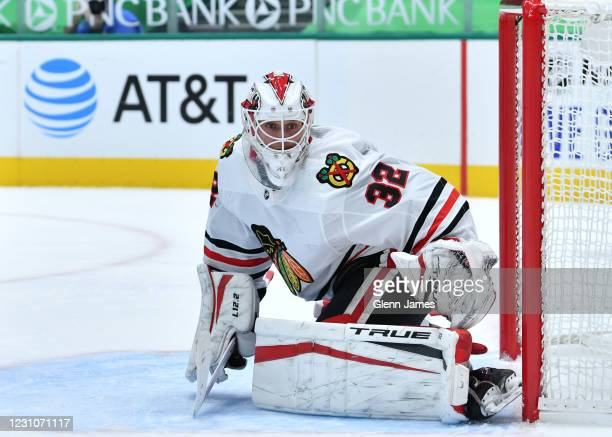 Kevin Lankinen of the Chicago Blackhawks tends goal against the Dallas Stars at the American Airlines Center on February 9, 2021 in Dallas, Texas.