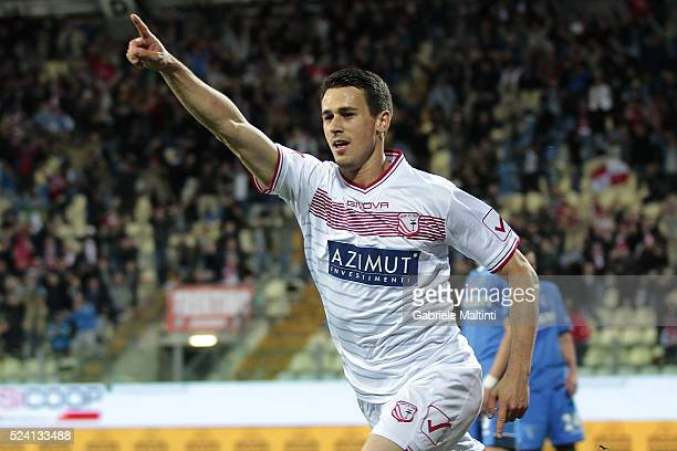 Kevin Lasagna of Carpi FC celebrates after scoring a goal during the Serie A match between Carpi FC and Empoli FC at Alberto Braglia Stadium on April...