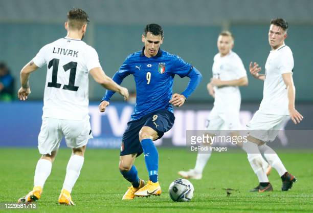 Kevin Lasagna of Italy controls the ball during the International Friendly match between Italy and Estonia at Stadio Artemio Franchi on November 11,...