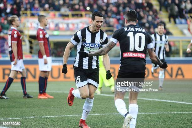Kevin Lasagna of Udinese Calcio celebrates after scoring his team's second goal during the serie A match between Bologna FC and Udinese Calcio at...