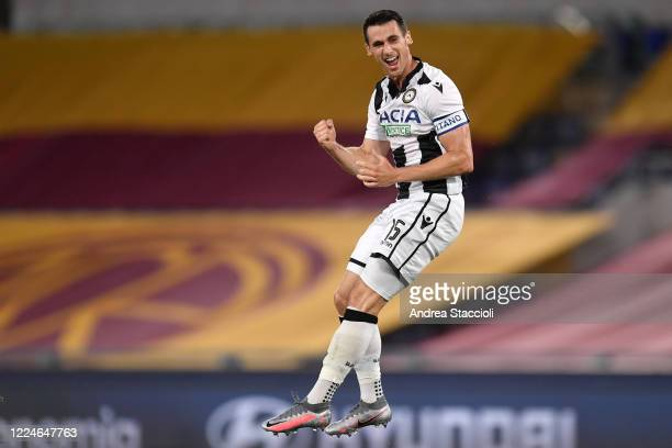 Kevin Lasagna of Udinese Calcio celebrates after scoring the goal of 0-1 during the Serie A football match between AS Roma and Udinese Calcio. Play...