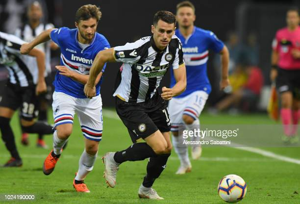 Kevin Lasagna of Udinese Calcio in action during the serie A match between Udinese and UC Sampdoria at Stadio Friuli on August 26 2018 in Udine Italy