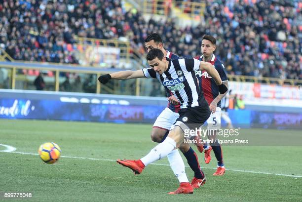 Kevin Lasagna of Udinese Calcio kicks towards the goal during the serie A match between Bologna FC and Udinese Calcio at Stadio Renato Dall'Ara on...