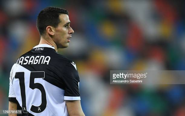 Kevin Lasagna of Udinese Calcio looks on during the Serie A match between Udinese Calcio and Benevento Calcio at Dacia Arena on December 23, 2020 in...