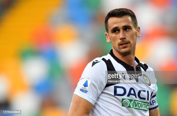 Kevin Lasagna of Udinese Calcio reacts during the Serie A match between Udinese Calcio and Atalanta BC at Stadio Friuli on June 28 2020 in Udine Italy