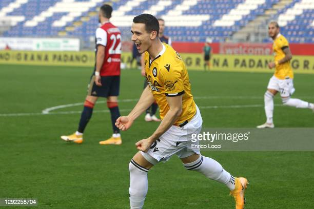 Kevin Lasagna of Udinese celebrates his goal 1-1 during the Serie A match between Cagliari Calcio and Udinese Calcio at Sardegna Arena on December...