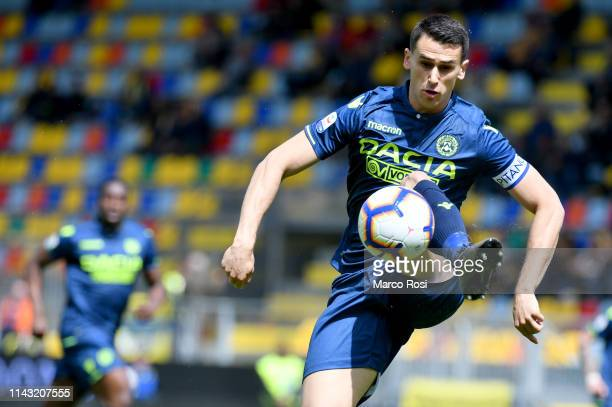 Kevin Lasagna of Udinese controls the ball during the Serie A match between Frosinone Calcio and Udinese at Stadio Benito Stirpe on May 12 2019 in...