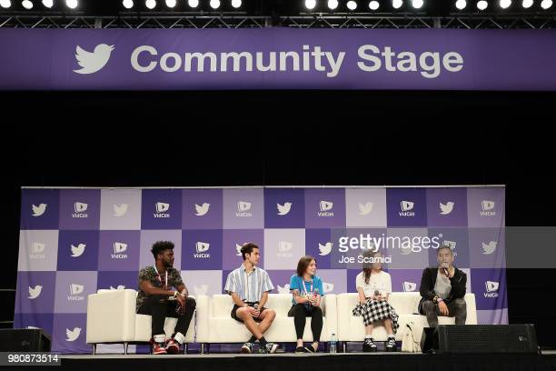 Kevin LaSean Conan Gray Emma Blackery dodie and Andrew Huang speak onstage during the 'Music Makers' panel at the 9th Annual VidCon at Anaheim...