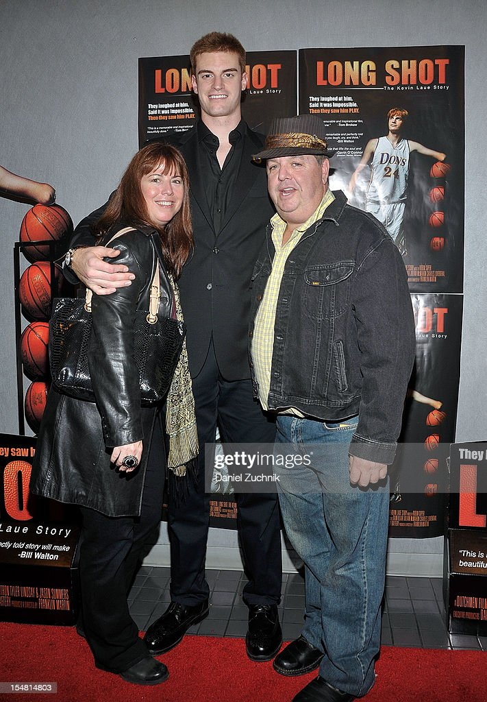 Kevin Laue(C) and John Scurti(R) attend the 'Long Shot: The Kevin Laue Story' New York Premiere at Quad Cinema on October 26, 2012 in New York City.