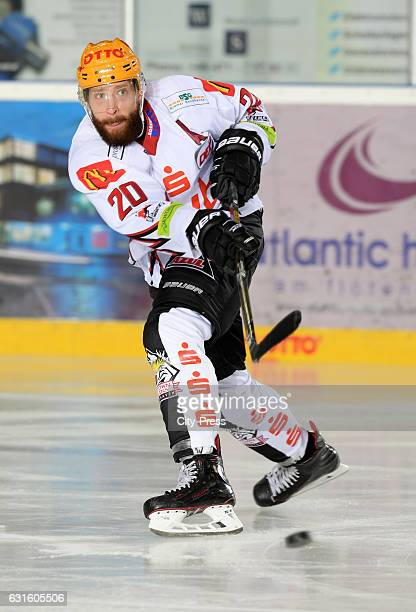 Kevin Lavallee of the Fischtown Pinguins passes the puck during the action shot on September 3 2016 in Bremerhaven Germany