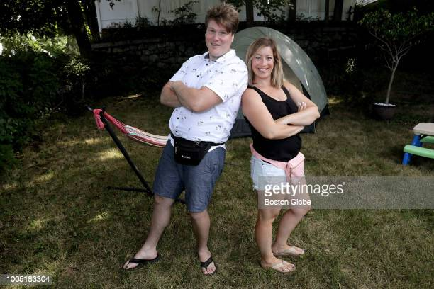 Kevin Leahy and wife Wynna pose for a portrait wearing fanny packs in their Stoneham MA backyard on July 21 2018 After decades as the poster...