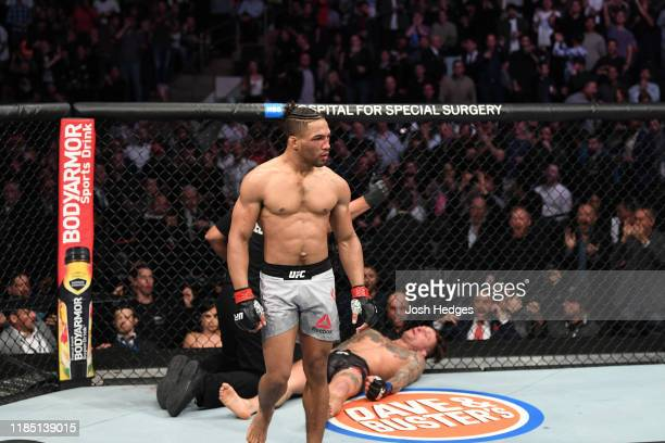 Kevin Lee celebrates his KO victory over Gregor Gillespie in their lightweight bout during the UFC 244 event at Madison Square Garden on November 02,...