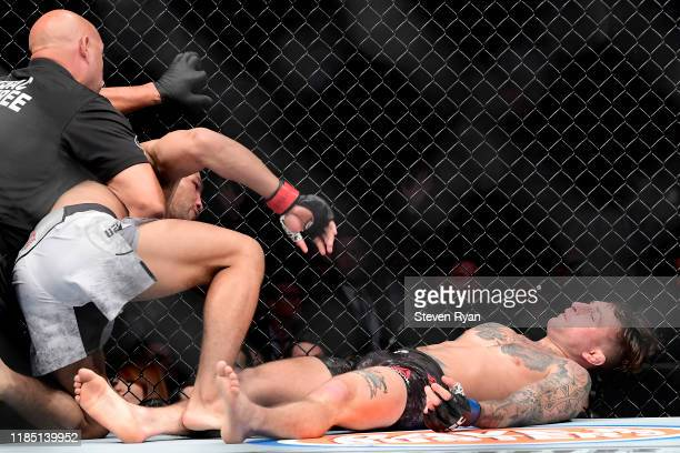 Kevin Lee of the United States knocks out Gregor Gillespie of the United States in the Lightweight bout during UFC 244 at Madison Square Garden on...