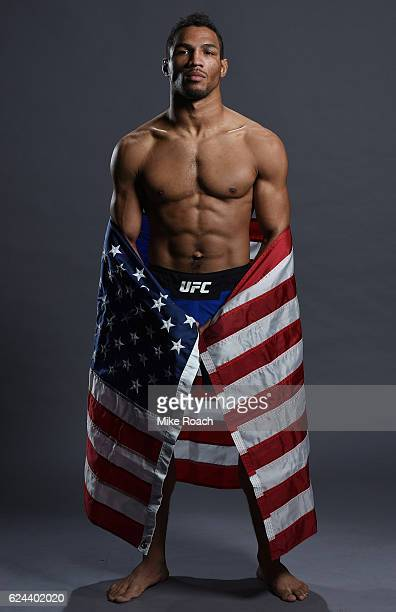 Kevin Lee poses for a portrait backstage after his victory over Magomed Mustafaev during the UFC Fight Night at the SSE Arena on November 19 2016 in...