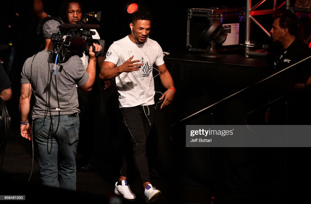 Kevin Lee prepares to take the stage during the UFC 216 weigh-in inside T-Mobile Arena on October 6, 2017 in Las Vegas, Nevada.