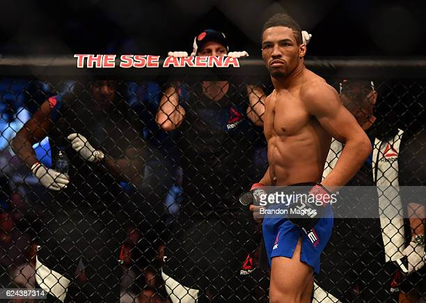 Kevin Lee stands in the Octagon before his lightweight bout against Magomed Mustafaev during the UFC Fight Night at the SSE Arena on November 19 2016...