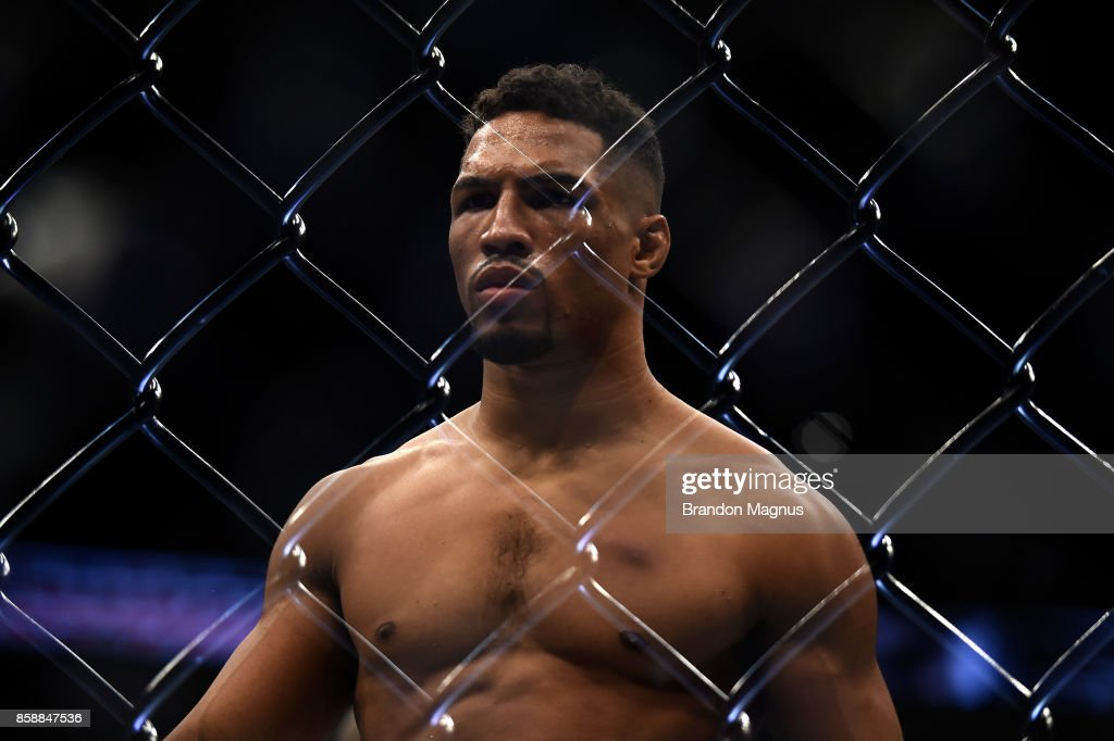 Kevin Lee stands in the Octagon prior to his interim UFC lightweight championship bout against Tony Ferguson during the UFC 216 event inside T-Mobile Arena on October 7, 2017 in Las Vegas, Nevada.