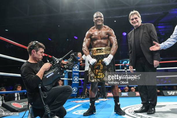 Kevin Lele Sadjo celebrates the victory during the Main Event 5 in Salle Marcel Cerdan on January 19 2018 in Paris France