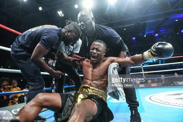 Kevin Lele Sadjo celebrates the victory with his team during the Main Event 5 in Salle Marcel Cerdan on January 19 2018 in Paris France