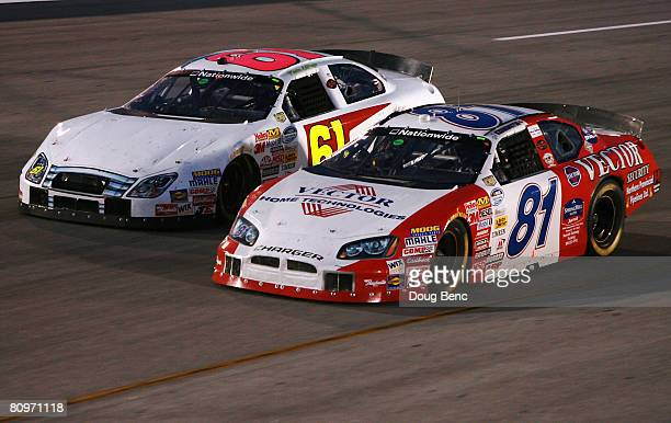 Kevin Lepage driver of the Ford races side by side with DJ Kennington driver of the Vector Security Dodge during the NASCAR Nationwide Series Lipton...
