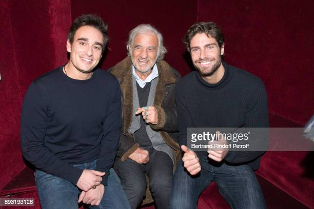 Kevin Levy JeanPaul Belmondo and Tom Leeb attend 'Michel Leeb 40 ans' Theater Show at Casino de Paris on December 14 2017 in Paris France