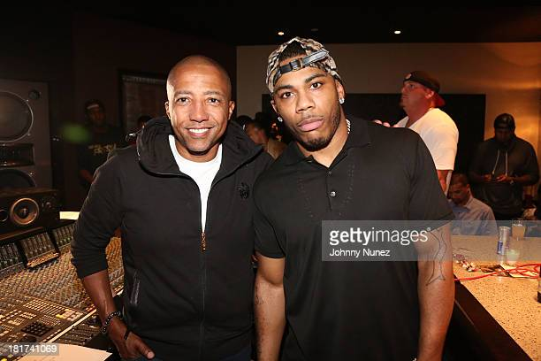 Kevin Liles and Nelly attend the Nelly Listening Session at Jungle City Studios on September 23 2013 in New York City